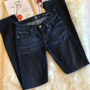 7FAM Dark Wash Straight Leg Jeans 25